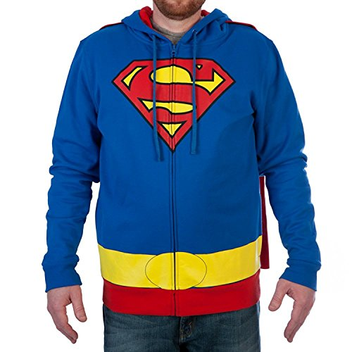 Superman T SHIRT Für Erwachsene Herren Kostüm - DC Comics Superman Caped Herren Cosplay