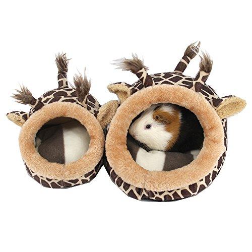 URIJK Kleine Tier Haus Nest Gemütlich Warm Plüsch Baumwolle Schlafen Bett Höhle für Lgel Katze Kaninchen Hamster Meerschweinchen Chinchilla (L, Giraffe) -
