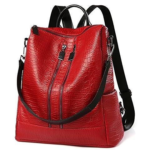 Sac à dos Femme Sac de PU Leather Cartable Sac de voyage Filles Sac à dos loisirs Rouge