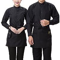 Livecity kurze Hüftschürze mit Taschen, halblang, Uniform für Catering, Köche, Bar, Kellner, Polyester, Schwarz , Kurz