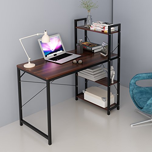 CherryTree Furniture 4-Tier Shelves Computer Desk Home Office Study Desktop Laptop Table Computer Workstation (Walnut)