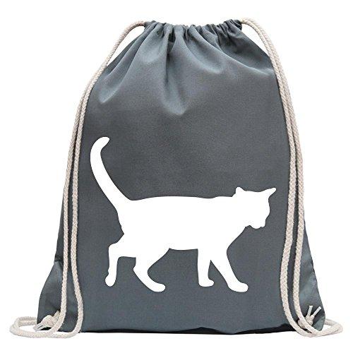 KIWISTAR - Katze Turnbeutel Fun Rucksack Sport Beutel Gymsack Baumwolle mit Ziehgurt Stahlgrau