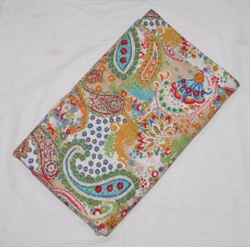Sophia Art Indian handgefertigt Paisley gedruckt Kantha Quilt, Twin Größe Kantha Betten, indische Baumwolle Tagesdecke, Bohemian Kantha Werfen, Floral Bett Cover (60x 90) - Baumwolle Indian Werfen