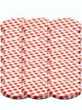 100 Twist-Off-Deckel Verschlüsse Ersatzdeckel Deckel für Sturzgläser To 82 Passend für 230 /350 / 435 ml / 565 ml (Rot Karriert)