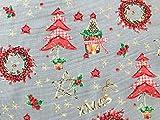 Oddies 100% Baumwolle, Weihnachtsmotiv auf silberfarbenem