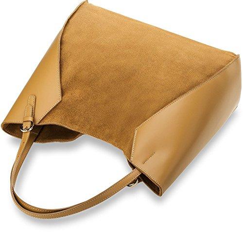 Damentasche Naturleder Wildleder Shopperbag City - Tasche (schwarz) beige