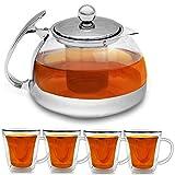 Set 5 pièces Théière + 4 verres à thé service à thé Filtre Double Paroi