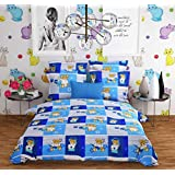 Aisha Cotton Superior 144 TC Cotton Printed Double Bedsheet With 2 Pillow Covers - Baby Print, Blue