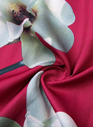 Futurino Femme Printemps/Été Décontracté Chocker Bretelles Dos Nu Floraux Chiffon Mini Slip Robe Plage Vacances Rouge