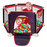 Kids 6-Panel Playard Playpen Portable Washable Aqua Play Center Fence with Playmat& Carry Case & Breathable Mesh for Babies Toddler Newborn Infant, Indoor and Outdoor Play