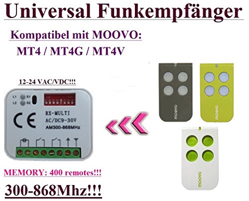 Universal Funkempfänger kompatibel mit MOOVO MT4, MOOVO MT4G, MOOVO MT4V handsender. 2-befehl Rolling Fixed code 300Mhz-868Mhz 12 - 24 VAC/DC