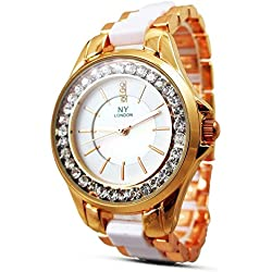 New Women's Ladies Watch Town Tone Rose Gold White Strap Mother of Pearl Dial Quartz