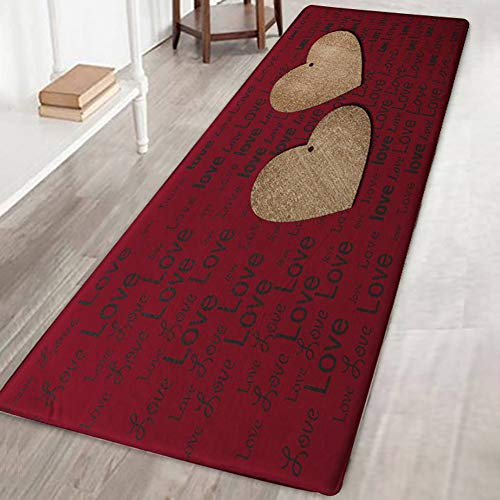 Handfly Soft Flannel No Slip Area Rug Doormat Carpet Floor Mat Rugs for Living Room Bedroom Kitchen Bathroom Study Room Europe Style Home Decorative Area Rugs and Mats, Love Letter with Heart