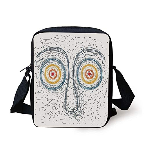 Psychedelic,Confused Man Portrait Human Face with Large Hypnotic Eyes Trance Hand Drawn,Multicolor Print Kids Crossbody Messenger Bag Purse - Coach Clutch Purse