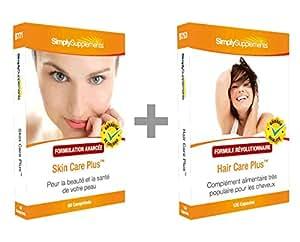 Simply Supplements Skin Care Plus 60 Comprimés + Hair Care Plus 120 gélules | Pack de Soin Intensif pour Peau et Cheveux
