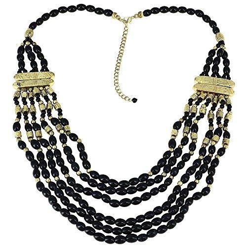 Indisches Kostüm Mode Schmuck Schwarz Halskette Perlen Multi Layered (Kostüme Asiatische Indische)