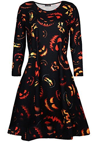 Be Jealous Damen Halloween Kostüm Schädel Schmuck unheimlich Pumpkin Party Kittel Damen Swing Kleid UK Übergröße 8-26 - unheimlich Pumpkin schwarz, M/L (UK 12/14) (Übergröße Kittel Kostüm)