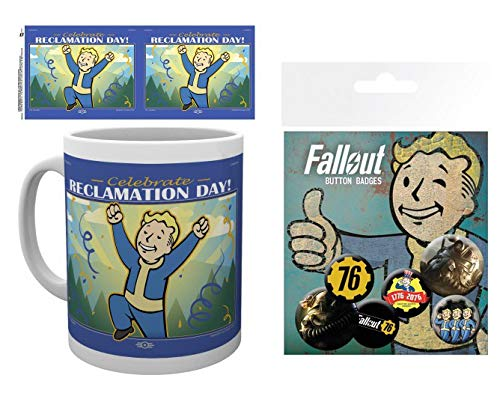 Set: Fallout, 76, Reclamation Day Foto-Tasse Kaffeetasse (9x8 cm) Inklusive 1 Fallout Button Pack...