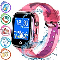 Kids Smart Watch Waterproof Kids Tracker Watch for Boys Girl, Children Smart Watch Phone Kids GPS Watch with Camera SOS Two-Way Calling Touch Screen, Back to School Supplies (Pink)