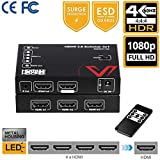 18Gbps HDMI Switch HDR 4K x 2K@60Hz 444, HDMI2.0, 2160P, 1080P, 4 IN 1 OUT, HDCP2.2, Ultra HD Switcher, IR Remote, 3D, Dolby Atmos & DTS:X, for Nintendo, PS4 Pro, Xbox One S/X etc