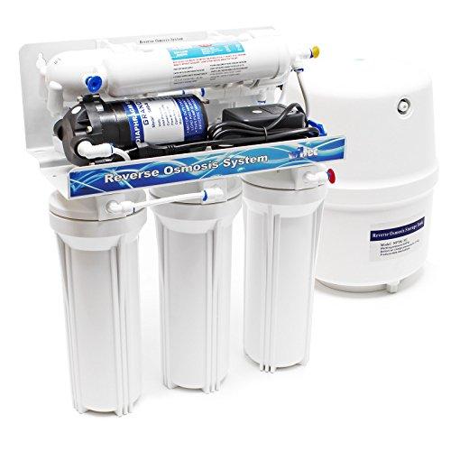 Naturewater 5 Stufen Umkehrosmose RO 180 L/Tag mit Druckerhöhungspumpe und manuellem Ventil -