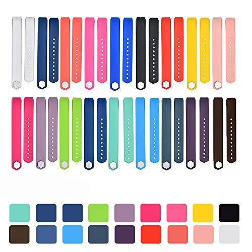 (iFeeker 18pcs Klein Size Bunte Weiche Silikon Ersatz Sport Uhrenarmbänder Armband Strap für Fitbit Alta/Alta HR mit Kostenlosen Sicheren Verschluss Ringe (18pcs Farben, Keine Tracker))