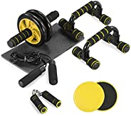 TOMSHOO 6-in-1 Fitness Workout Set - AB Wheel Roller Addominali, 2 Maniglie per Flessioni, 2 Dischi Scorrevoli