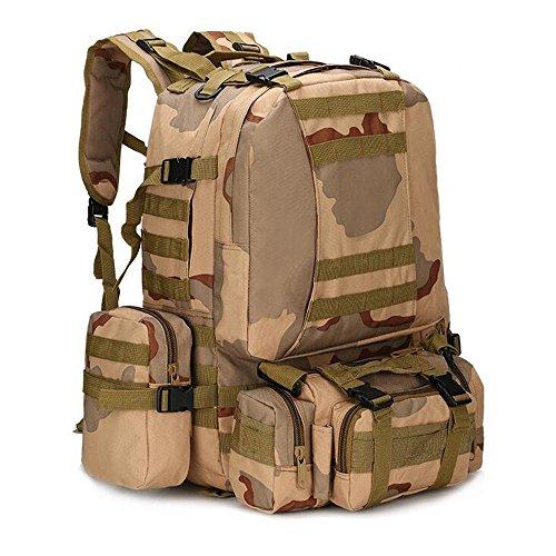 Groß, wasserdicht Military Army Patrol MOLLE Assault Pack Tactical Rucksack Tasche für Wandern Camping, 60l Sand Camo