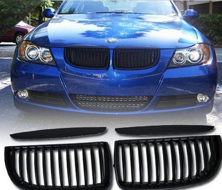 THG Fit directa frente de la capilla central Grille Grill Negro para BMW E90 E91 Serie 3 de 4 puertas s¨®lo modelo 2005-2008