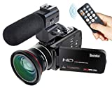 Besteker Wifi Camcorder Full HD 1080P 30FPS Portable Digital Video Camera with External
