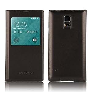 JAMMYLIZARD | Leder Flip Case Hülle für Samsung Galaxy S5 mit S-View Funktion, BRAUN