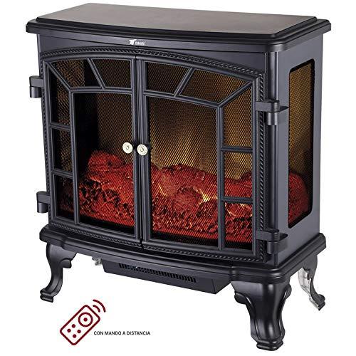 Chimenea eléctrica de diseño clásico con efecto llama y leña decorativa. Cuenta...