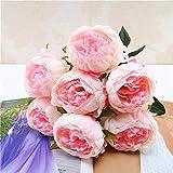 Yazidan 1 Bouquet Vintage Künstliche Pfingstrose Seidenblumen Bouquet zur Dekoration Seidenblume Leaf Floral Blatt Rose Gefälschte Blumen Seidenrosen Plastik Köpfe Braut Hochzeitsblumenstrauß