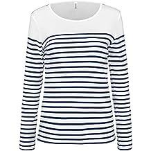 3bab6f819b4 KARIBAN - Marinière - t-shirt manches longues- K386 - Femme