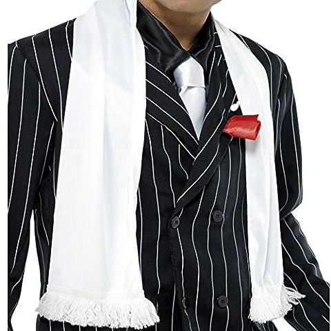 German Trendseller® - Mafia -Schal - Deluxe Weiß mit Franzen ┃ Gangster Weiss ┃ 20er Jahre ┃ Al Capone ┃ Mafiosi Boss ┃ Karneval / (Al Capone Kostüm)