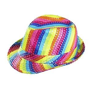 WIDMANN 0081u?Fedora Sombrero con Lentejuelas en los Colores del Arco Iris, One Size