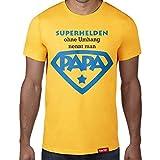 Einen Superhelden ohne Umhang nennt man Papa 2 // Original Hariz® T-Shirt - Sechzehn Farben, XS-4XXL // Männer | Geschenk | Geburtstag | Vatertag | Weihnachten #PAPA Collection Gold S
