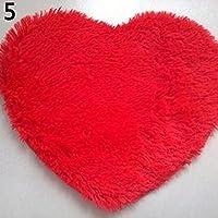 Pelo corto Alfombras Niños Forma De Corazón Cojín Suave Shaggy área alfombra antideslizante Felpudo (Amesii, Rojo, 30cm by 40cm