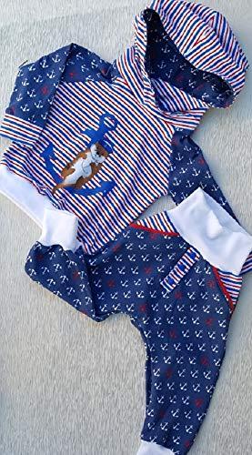 Set Pumphose + Hoodie Anker Otter maritim blau rot weiß Streifen -