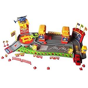 HLD 34 PCS Parkhaus mit Tankstelle und Waschanlage Gebäude Spielset Parkplatz Spielzeug für Kinder 3 Jahre alt und Bis