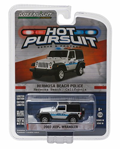 2007 JEEP WRANGLER / HERMOSA BEACH POLICE * Hot Pursuit Series 18 * 2016 Greenlight Collectibles Limited Edition 1:64 Scale Die-Cast Vehicle by Greenlight (1 18 Scale Diecast Greenlight)