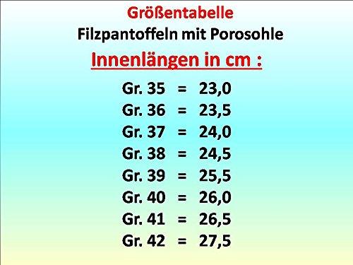 GIBRA® Deutsche Filzpantoffeln mit Porosohle (feste Sohle), lila, Gr.35-42 Lila