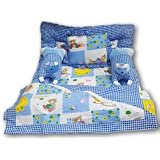 Pinks & Blues New Born Baby full sleeping cotton bedding set with 2 side pillows in a shape of cute RABBITS ,1 SHEET ,1 soft matress, n 1 rectangular pillow. 0 - 30 months (SKY)