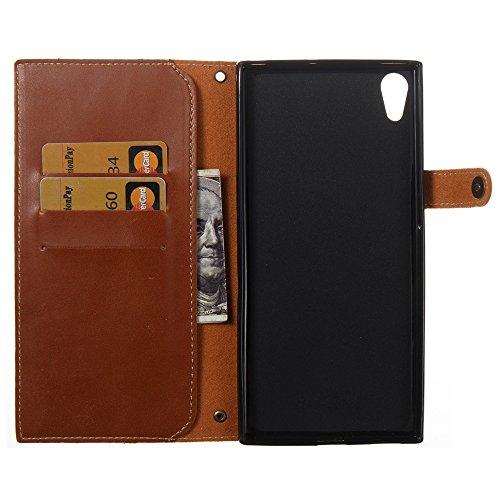 Solid Color Faux Ledertasche Retro Folio Horizontale Flip Stand Case mit Magnetniet Verschluss & Card Slots & Lanyard für Sony Xperia XA ULTRA ( Color : Blue ) Brown