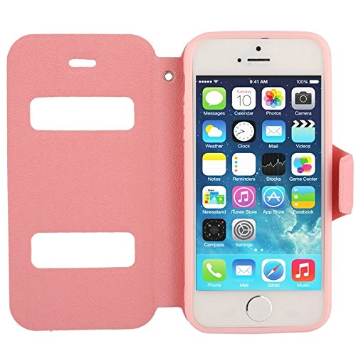 wkae Schutzhülle Fall & Cover Pebble Textur Leder Case mit Call Display ID & HolderFor iPhone 5 & 5S & SE & SE rose