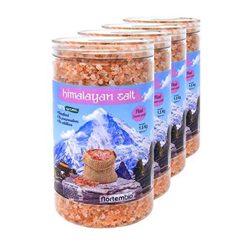 4 Salz (NortemBio Rosa Himalaya-Salz 4x1,5 Kg. Grob (2-5 mm). 100% Natürlich. Unraffiniert. Ohne Konservierungsstoffe. Von Hand extrahiert. Aus Punjab Pakistan. Premium-Qualität.)