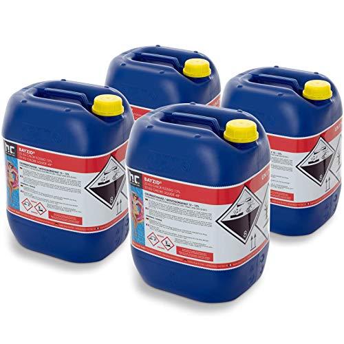 Höfer Chemie 4 x 25 kg Chlor flüssig - mit 13 bis 15% Aktivchlorgehalt - Wasserdesinfektion für Pools