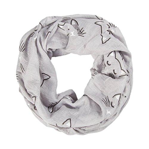 MANUMAR Loop-Schal für Damen   Hals-Tuch in grau mit Katzen Motiv als perfektes Herbst Winter Accessoire   Schlauchschal   Damen-Schal   Rundschal   Geschenkidee für Frauen und Mädchen