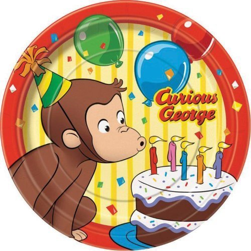 Curious George Dessert Plates Birthday and Theme Party Supplies 8 Per Pack by SmileMakers (Party Curious George)