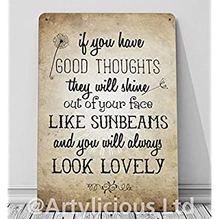 Artylicious If you have good thoughts, Road Dahl quote A4 retro metal sign door wall art